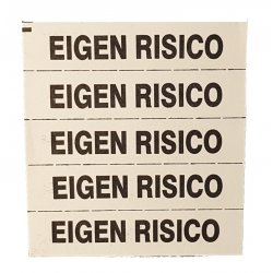 Hydrofix merkband, standaard bedrukt EIGEN RISICO